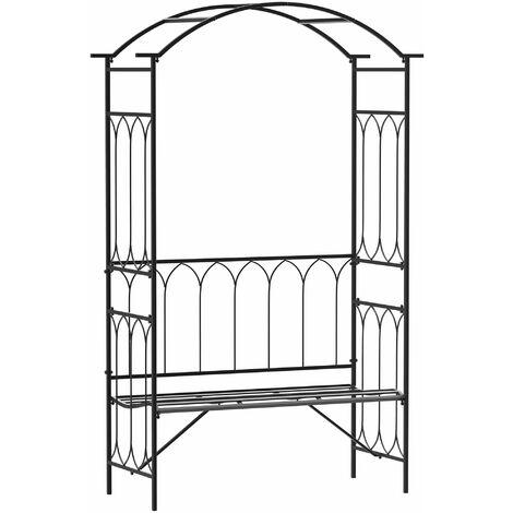 Outsunny Arco de Jardín con Banco de metal para Plantas Trepadoras Rosales 115x50x203 cm - Negro
