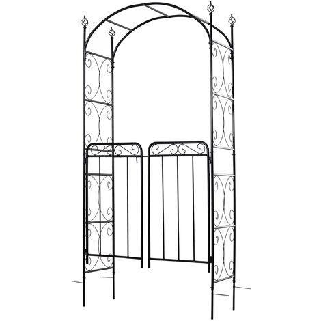 Outsunny Arco de Jardín con Doble Puerta 108x45x215cm con Cerradura para Trepaderas Negro - Negro
