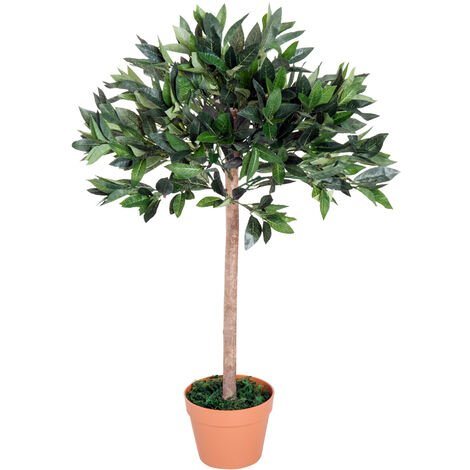 Outsunny Artificial Olive Tree Plant Greenary for Home or Office In an Orange Pot 90 cm