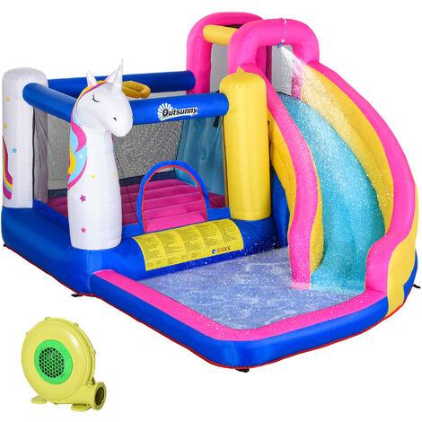 Outsunny® Aufblasbare Hüpfburg mit Rutsche Spielburg Springburg mit Gebläse für 4 Kinder