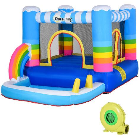 Outsunny® Aufblasbare Hüpfburg mit Rutsche Springburg Spielburg mit Gebläse für 3 Kinder