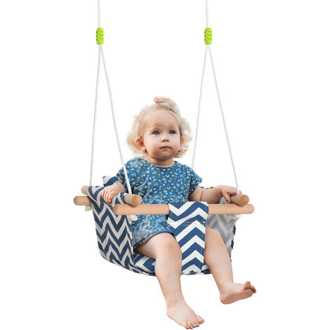 Outsunny Baby Canvas Swing Indoor Outdoor w/ Cotton Filled Canvas Cushion Seat
