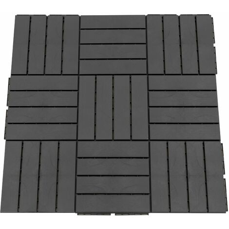 Outsunny Baldosas Cuadradas para Suelos 30x30 Paquete de 9 Piezas Cubre 0.81 m² Negro - negro