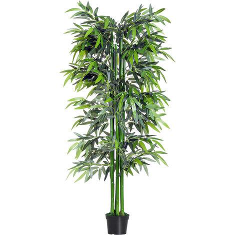 Outsunny Bambú Artificial 180cm con Cañas Naturales Árbol Planta Sintética Decorativa PE