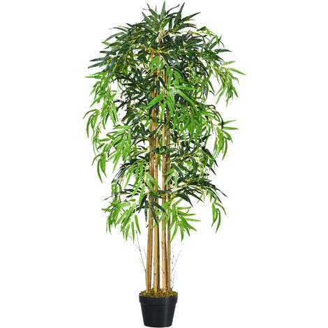 Outsunny Bambú Artificial con Maceta Planta de Hojas Realistas Decorativa Ø18x150cm Verde - Verde