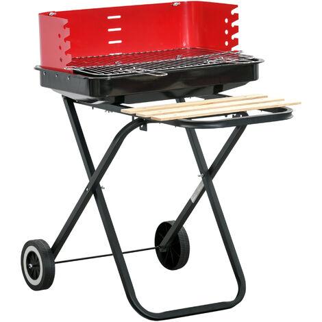 Outsunny Barbacoa de Carbón Plegable con 2 Ruedas Parilla con Altura Ajustable 57x64x83cm - Rojo y Negro