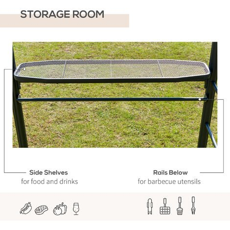 Outsunny BBQ Patio Canopy Gazebo with Interlaced Polycarbonate Roof 2 Shelves