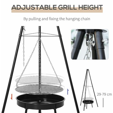 Outsunny BBQ Tripod Charcoal Barbecue High Temperature Powder Enamel - 70x70x165cm
