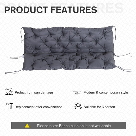 Outdoor Bench Pad Cushion Comfortable Bench Cushion 150 x 50 cm 3 Seater Cotton Garden Furniture Pad for Garden Patio Lawn Bench or Swing Blue
