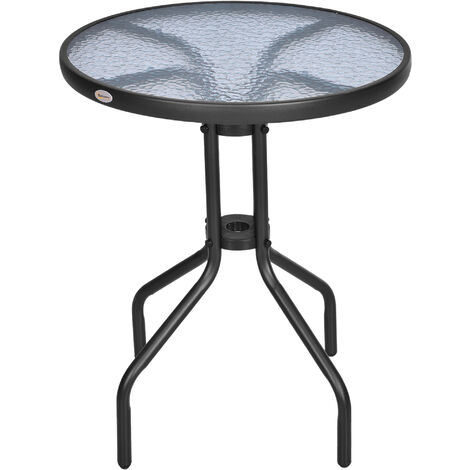 Outsunny Bistro Table Outdoor Tempered Glass Top Table Garden Round Dining Table - D60cm