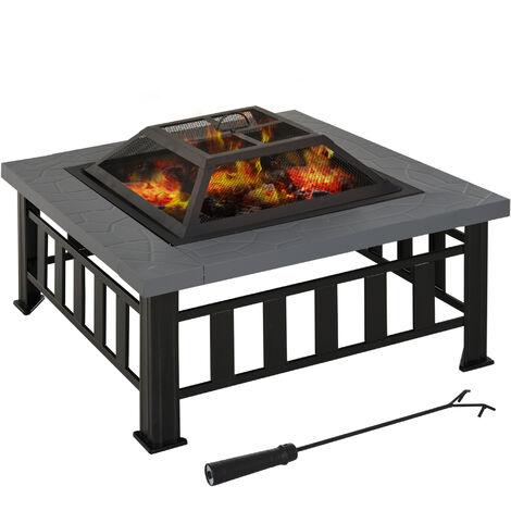 Outsunny Brasero Exterior de Terraza Calentador Multiusos Pozo de Fuego/BBQ/Cubo de Hielo