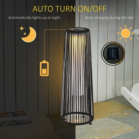 Outsunny Caged Wicker Solar Powered Garden Lights Night Furniture Lantern Black