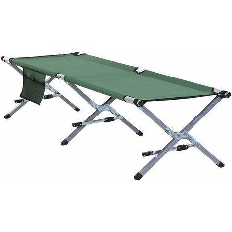 Outsunny Cama Plegable para Camping Bolsa de Transporte 193x66x42cm Verde