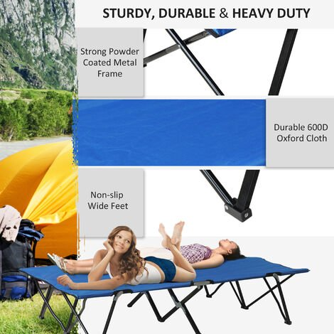 Outsunny Camping Folding Cot Outdoor Light Sleeping Bed Travel Guest