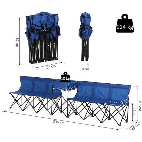 Outsunny® Campingbank 6-Sitzer Faltbank Ersatzbank Klappbank Tragetasche Oxford Blau