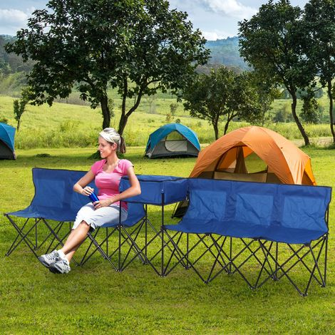 Outsunny® Campingbank 6-Sitzer Faltbank Ersatzbank Klappbank Tragetasche Oxford Blau - 84B-382BU