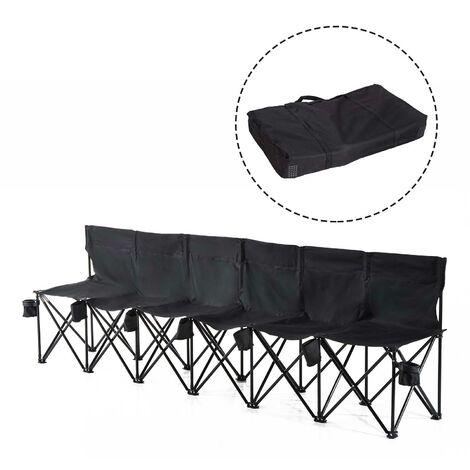 Outsunny® Campingbank Faltbank 6-Sitzer mit Tragetasche schwarz