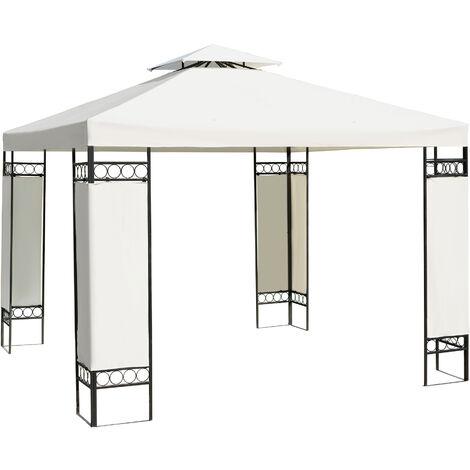 Outsunny Carpa 3x3m Color Crema Estructura Metal Gazebo Cenador 9m2 posibilidad Techos