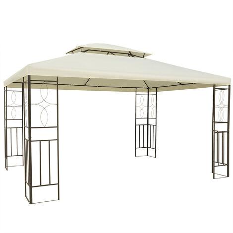 Outsunny Carpa 3x4m Estructura Metal Gazebo Cenador Mirador 12m2 Color Crema NUEVO