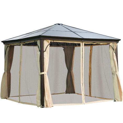 Outsunny Carpa Cenador para Jardín Estable Anti-UV 3x3 Techo 4 Paravientos + Mosquitera integrada