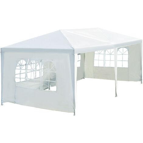 Outsunny Carpa con Paneles Laterales Plegable con 4 Ventanas Asas Acero Poliéster 600x300x255 Blanco