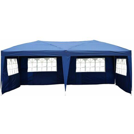 Outsunny Carpa Pabellon Plegable 4 Paneles Ventanas Poliester Impermeable 5,91x2,97x2,55 m - Azul