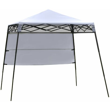 """main image of """"Outsunny Carpa Plegable 2,2x2,2x2m con Lateral y Protección UV 50+ de Acero Blanco - Blanco"""""""
