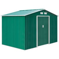 Outsunny Caseta de Jardín tipo Cobertizo Metálico Verde para Almacenamiento de Herramientas - 277x191x192cm Verde Oscuro