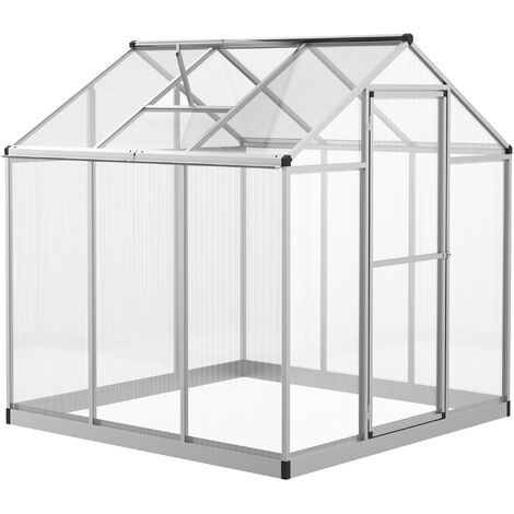 Outsunny Caseta Invernadero Jardín Transparente con Puerta y Ventana Alumnio 182x183x195 cm