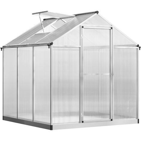 Outsunny Caseta Invernadero para Jardín Transparente con Puerta y Ventana 182x183x195cm - plateado y transparente