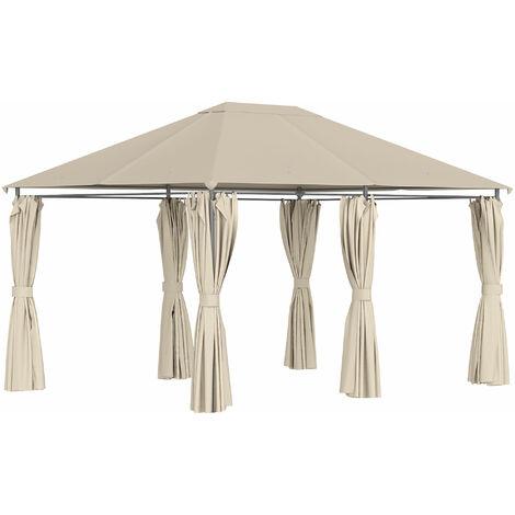 Outsunny Cenador con Techo al Aire Libre Cenador Impermeable Exterior con Pared Lateral
