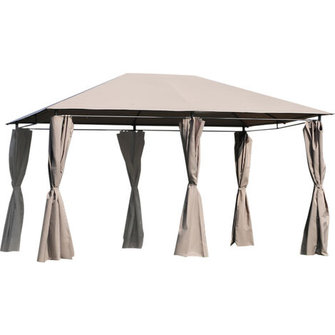 """main image of """"Outsunny Cenador con Techo al Aire Libre Cenador Impermeable Exterior con Pared Lateral - Caqui"""""""