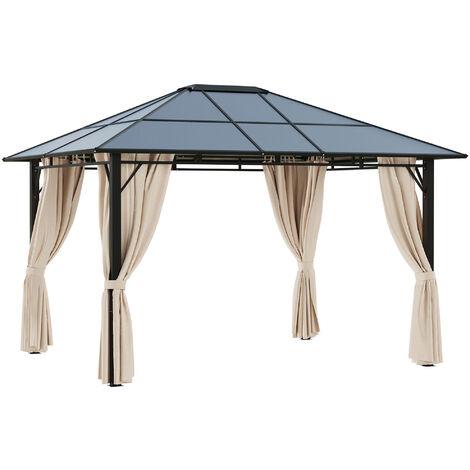 Outsunny Cenador de Jardín 3,65x3 m Acero con Techo de Policarbonato Protección UV 50+ - Beige