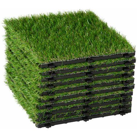 Outsunny Césped Artificial tipo Alfombra o Estera de Hierba Sintética de Exterior para Jardín y Terraza 25mm (Modelo 1: 10 piezas)