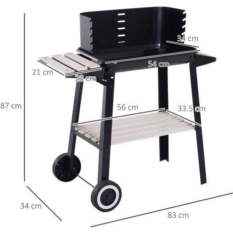 Outsunny Charcoal BBQ Grill Trolley Barbecue Patio Outdoor Garden Heating Smoker Portable