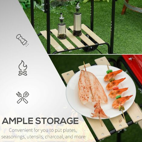 Outsunny Charcoal Steel Grill Portable BBQ Outdoor Garden w/ Wheels Wood Shelves Red