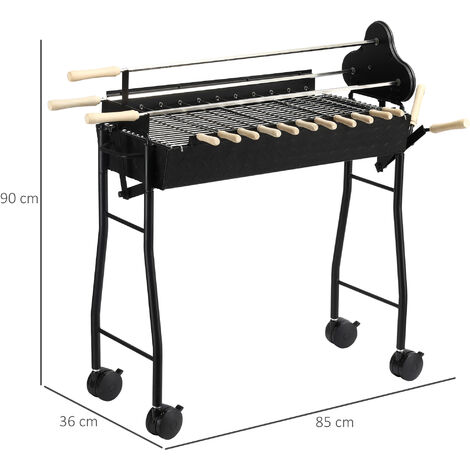 Outsunny Charcoal Trolley BBQ Garden Outdoor Barbecue Cooking Grill High Temperature Powder Wheel
