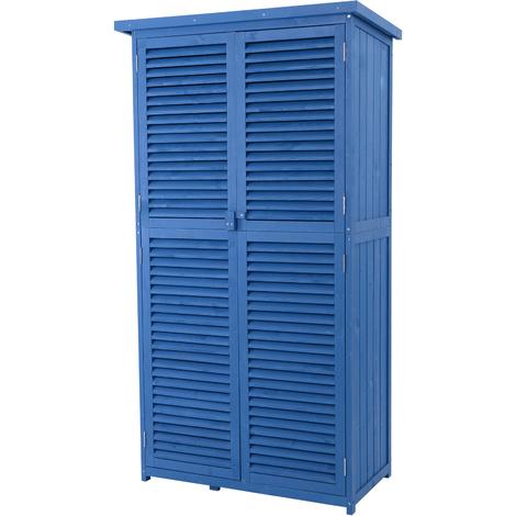 Outsunny cobertizo de madera caseta de exterior armario para herramientas de jardiner a persiana - Armario de madera para exterior ...