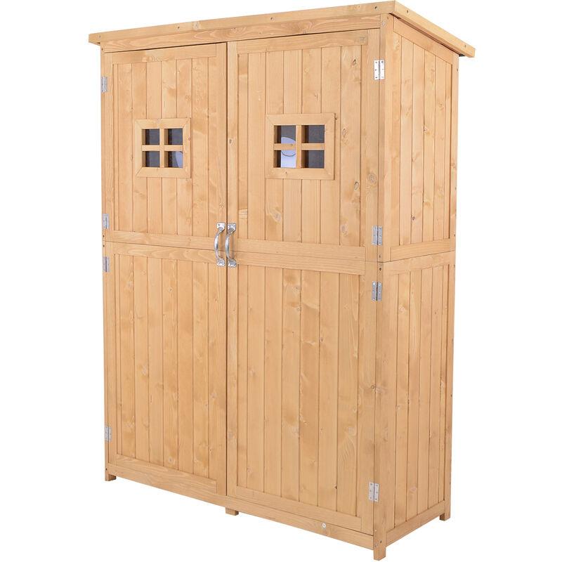 Outsunny cobertizo de madera caseta exterior armario herramientas de jardiner a doble puertas - Armario de madera para exterior ...