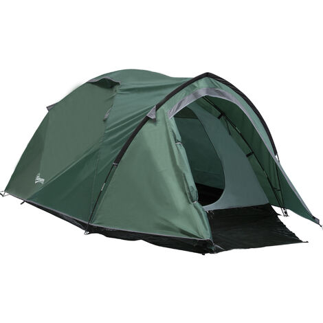 Outsunny Compact Camping Tent w/ Porch Mesh Vents Hiking Outdoor Green
