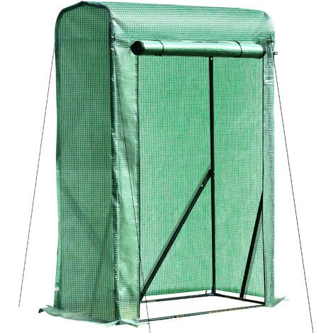 Outsunny Compact Portable Greenhouse w/ Steel Frame Mesh Cover Roll-Up Door 150x50cm