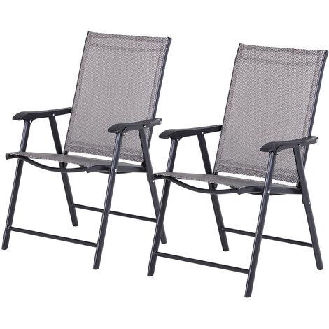 Outsunny Conjunto de 2 Sillas Plegables Con Reposabrazos para Jardín o Terraza Carga 100kg Gris - gris y negro