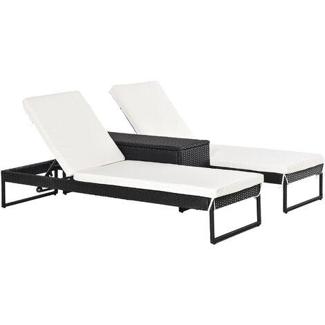 Outsunny Conjunto de 2 Tumbonas de Terraza con Mesa Ratán 195x60x86 cm - negro y blanco crema