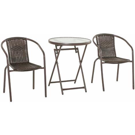 Outsunny Conjunto de 3 Muebles de Jardín Ratán Plegable 1 Mesa 2 Sillas 58x54x73cm Marrón - Marrón