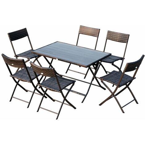 Outsunny Conjunto de Mesa Sillas Muebles Plegable Ratán para Jardín Exterior Patio - Marron