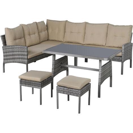 Outsunny Conjunto de Muebles de Jardín 6 Piezas de Ratán Sofás de 2 Plazas Taburete Mesa - Gris y Caqui