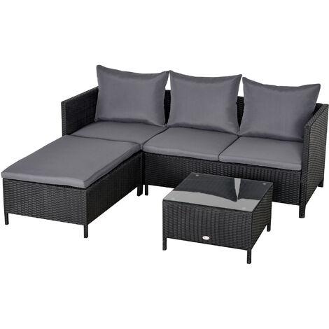 Outsunny Conjunto de Muebles de Jardín de Ratán con Cojines Acolchados Metal Exteriores - Negro