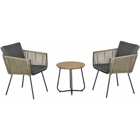 Outsunny Conjunto de Muebles de Ratán 1 Mesa Redonda y 2 Sillas con Cojines para Jardín - Multicolor
