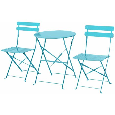 Outsunny Conjunto de Muebles Plegables de Jardín Mesa y 2 Sillas de Metal Ø60x71 cm Azul - Azul
