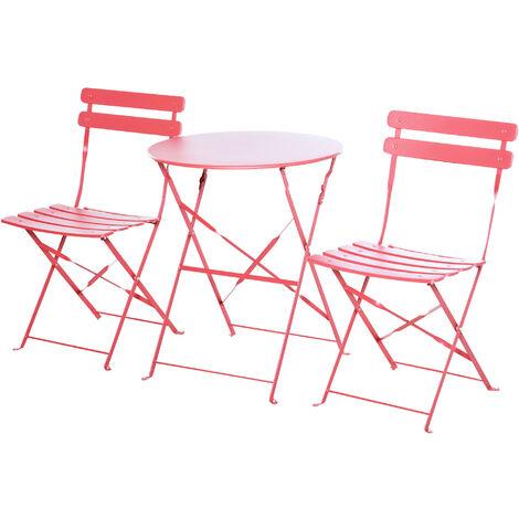 Outsunny Conjunto de Muebles Plegables de Jardín Mesa y 2 Sillas de Metal Ø60x71 cm Rojo - Rojo